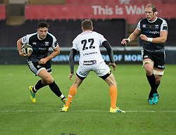 Owen Watkin of Ospreys lines up Ernst Stapelberg of Cheetahs<br /> <br /> Photographer Simon King/Replay Images<br /> <br /> Guinness PRO14 Round 2 - Ospreys v Cheetahs - Saturday 8th September 2018 - Liberty Stadium - Swansea<br /> <br /> World Copyright © Replay Images . All rights reserved. info@replayimages.co.uk - http://replayimages.co.uk