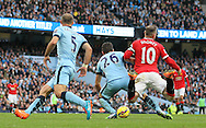 Wayne Rooney of Manchester United brought down by Martin Demichelis of Manchester City - Barclays Premier League - Manchester City vs Manchester Utd - Etihad Stadium - Manchester - England - 2nd November 2014  - Picture David Klein/Sportimage