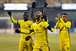 October 31, 2017 - Columbus, OH, USA - Columbus Crew forward Justin Meram (9) celebrates the team's 4-1 win against New York City FC in an MLS Eastern Conference Semifinal playoff game in Columbus, Ohio, on Tuesday, Oct. 31, 2017. (Credit Image: © Adam Cairns/TNS via ZUMA Wire)