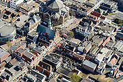 Nederland, Noord-Holland, Purmerend, 20-04-2015; stadscentrum rond Koepelkerk, Stadshuis en Schouwburg De Purmaryn. In het midden van de foto een hoogwerker op de plaast waar een grote brand geweest is.<br /> City centre.<br /> luchtfoto (toeslag op standard tarieven);<br /> aerial photo (additional fee required);<br /> copyright foto/photo Siebe Swart