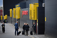 Football - 2019 / 2020 Premier League - Watford vs. Leicester City<br /> <br /> Match officials wait outside the ground, at Vicarage Road.<br /> <br /> COLORSPORT/ASHLEY WESTERN