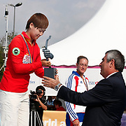 CHENG Ming (CHN) (L) competes in Archery World Cup Final in Istanbul, Turkey, Sunday, September 25, 2011. Photo by TURKPIX