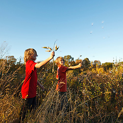 Nine year old boys play with milkweed pods in a field at Elmwood Farm in Hopkinton, Massachusetts. Fall.