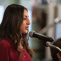 Miyamura High School Senior Halli Vargas speaks at the Rotary Club's Senior of the Month luncheon, Wednesday, Feb. 20 at Sammy C's in Gallup.