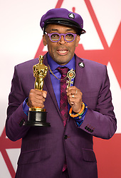 "Spike Lee, winner of the Best Adapted Screenplay Award for ""BlacKkKlansman"" at the 91st Annual Academy Awards (Oscars) presented by the Academy of Motion Picture Arts and Sciences.<br /> (Hollywood, CA, USA)"