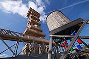 Linz, Austria. HÖHENRAUSCH.3<br /> Die Kunst der Türme (The Art of Towers)<br /> Oberösterreich-Turm (Upper Austria Tower) and Wasserturm (Water Tower), r.
