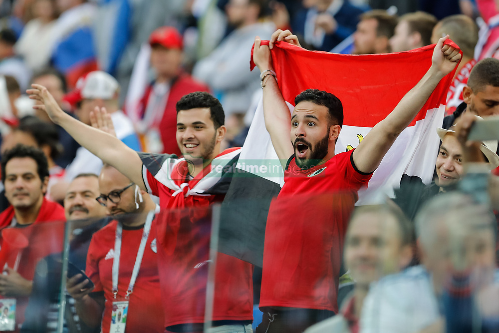 June 19, 2018 - Saint Petersburg, Russia - Egypt supporters during the 2018 FIFA World Cup Russia group A match between Russia and Egypt on June 19, 2018 at Saint Petersburg Stadium in Saint Petersburg, Russia  (Credit Image: © Mike Kireev/NurPhoto via ZUMA Press)