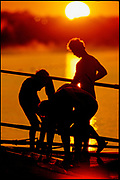 2000 Sydney Olympic Games, Rowing Regatta, Early Morning Training, Sunrise silhouettes, [Mandatory Credit Peter Spurrier/Intersport Images]