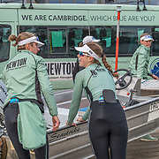 Cambridge Women , Tricia Smith, bow , Sophie Deans, 2 , Laura Foster, 3 , Larkin Sayre, 4 , Kate Horvat, 5 , Pippa Whittaker, 6 , Ida Gortz Jacobsen, 7 , Lily Lindsay, stroke , Hugh Spaughton, cox <br /> <br /> Crews prepare for Sunday's 165th Boat Race between Oxford and Cambridge, River Thames, London, Friday 5th April 2019. © Copyright photo Steve McArthur / www.photosport.nz
