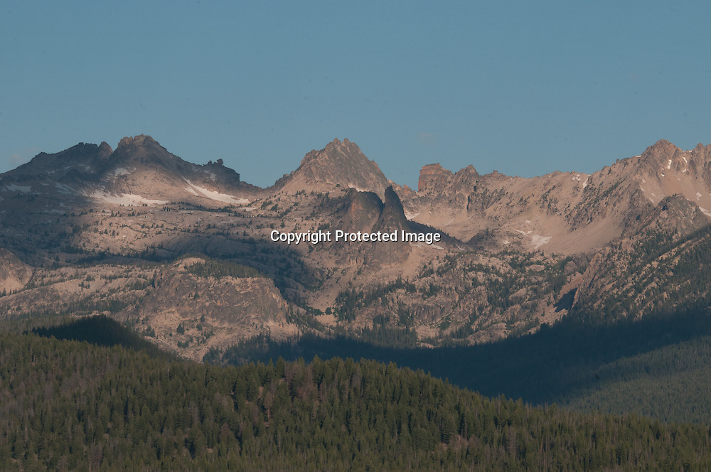 The Sawtooth Mountains in the Sawtooth National Recreation Area of the Sawtooth National Forest in Idaho.