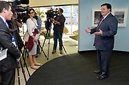 J.J. Ament (R), Metro Denver Economic Development Council (EDC) CEO discusses Colorado's proposal for the Amazon.com Inc's $5 billion second headquarters with the news media at an event in Denver, Colorado U.S. November 16, 2017.  REUTERS/Rick Wilking