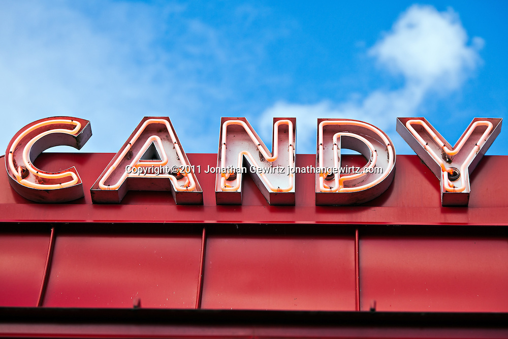The Candy Corner arcade sign in Glen Echo Park, Maryland. WATERMARKS WILL NOT APPEAR ON PRINTS OR LICENSED IMAGES.