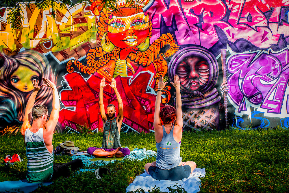 A yoga class in Miami's rapidly gentrifying Wynwood district famed for its fabulous murals and graffiti.