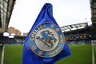 a general view inside Stamford Bridge showing a Chelsea corner flag. Premier league match, Chelsea v Arsenal at Stamford Bridge in London on Saturday 4th February 2017.<br /> pic by John Patrick Fletcher, Andrew Orchard sports photography.