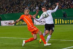 15.11.2011, Imtech Arena, Hamburg, GER, FSP, Deutschland (GER) vs Holland (NED), im Bild Lukas Podolski (GER #10 Koeln) vs Gregory van der Wiel (NED #02 AFC Ajax) // during the Match Gemany (GER) vs Netherland (NED) on 2011/11/15, Imtech Arena, Hamburg, Germany. EXPA Pictures © 2011, PhotoCredit: EXPA/ nph/ Kokenge..***** ATTENTION - OUT OF GER, CRO *****