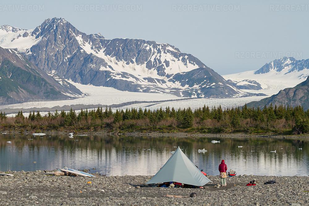 Camp setup at Bear Glacier in Kenai Fjords National Park, Alaska. Photo © Robert Zaleski / rzcreative.com<br /> —<br /> To license this image contact: robert@rzcreative.com
