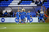 Peterborough United forward Ivan Toney (17) celebrates with teammates after scoring 1-0 Peterborough during  the The FA Cup 2nd round match between Peterborough United and Bradford City at London Road, Peterborough, England on 1 December 2018.