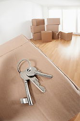 House Key on cardboard box in a room, Bavaria, Germany