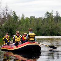 North America, USA, Alaska. A rafting float trip on the Talkeetna River.