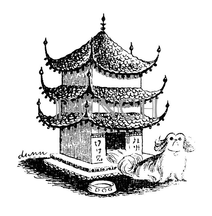 (A Pekinese dog lives in a kennel shaped like a pagoda)