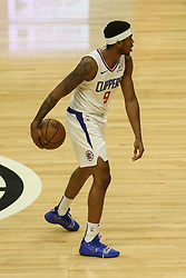 December 17, 2018 - Los Angeles, CA, U.S. - LOS ANGELES, CA - DECEMBER 17: Los Angeles Clippers Guard Tyrone Wallace (9) during the Portland Trail Blazers at Los Angeles Clippers NBA game on December 17, 2018 at Staples Center in Los Angeles, CA.. (Photo by Jevone Moore/Icon Sportswire) (Credit Image: © Jevone Moore/Icon SMI via ZUMA Press)