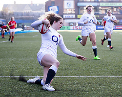 Abby Dow of England scores her sides seventh try<br /> <br /> Photographer Simon King/Replay Images<br /> <br /> Six Nations Round 3 - Wales Women v England Women - Sunday 24th February 2019 - Cardiff Arms Park - Cardiff<br /> <br /> World Copyright © Replay Images . All rights reserved. info@replayimages.co.uk - http://replayimages.co.uk
