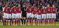 Photo: Daniel Hambury, Digitalsport<br /> Arsenal v Everton.<br /> FA Barclays Premiership.<br /> 11/05/2005.<br /> Arsenal's players observe a minutes silence in honour of the Bradford City fire.