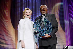 2016 Democratic nominee for president of the United States Hillary Clinton receives the Phoenix Award from Jim Clyburn, U.S. Representative for South Carolina's during the Congressional Black Caucus Foundation's 46th Annual Legislative Conference Phoenix Awards Dinner, September 17 2016, in Washington, DC, USA. Photo by Olivier Douliery/Pool/ABACAPRESS.COM