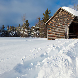 The Trela Shelter in winter at the Notchview Reservation in WIndsor, Massachusetts. The Trustees of Reservations.