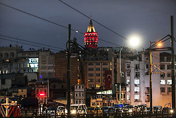 Istanbul's historic Galata Tower lit up with colors of Turkish flag to protest terrorist attacks that killed 44 people on saturday night. istanbul, Turkey, December 12, 2016. Photo by Depo Photos/ABACAPRESS.COM