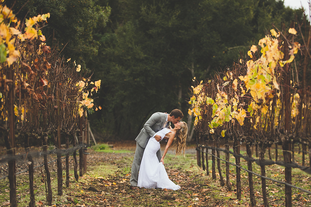 When you're brave enough to have a wedding in the end of October, and lucky enough to have the rain stop for the afternoon...you strike gold #fallcolors Milo and Jillian dodge the rain in the October Vineyard wedding. Beautiful Sonoma county colors surround the couple at the Crane Melon Barn...a perfect place for a fall wedding.