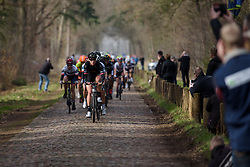 Julie Leth leads the peloton over the first set of cobbles at Ronde van Drenthe 2017. A 152 km road race on March 11th 2017, starting and finishing in Hoogeveen, Netherlands. (Photo by Sean Robinson/Velofocus)