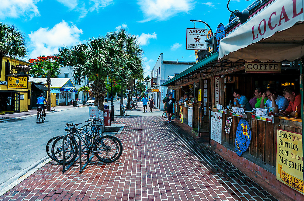 An image from the middle of the week, middle of the day in the beginning of the off season in downtown Key West, Florida.