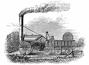 Stephenson's locomotive 'Rocket' which won competition at Rainhill Bridge, Manchester for locomotive to be used on Liverpool & Manchester Railway, 14 October 1829. From Samuel Smiles 'The Story of the Life of George Stephenson' London 1859. Woodcut.