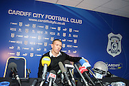 news conference at the Cardiff city stadium on Tues 17th Aug 2010 as Craig Bellamy signs on loan from Manchester city to championship side Cardiff city. pic by Andrew Orchard , Andrew Orchard sports photography,