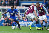 Birmingham City's Jacques Maghoma brings the ball away from Aston Villa's Alan Hutton and Ross McCormack<br /> <br /> Photographer James Williamson/CameraSport<br /> <br /> The EFL Sky Bet Championship - Birmingham City v Aston Villa - Sunday October 30th 2016 - St Andrews - Birmingham<br /> <br /> World Copyright © 2016 CameraSport. All rights reserved. 43 Linden Ave. Countesthorpe. Leicester. England. LE8 5PG - Tel: +44 (0) 116 277 4147 - admin@camerasport.com - www.camerasport.com