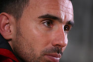 Leon Britton, the Swansea city caretaker manager  talks to the media during his post match press conference. Premier league match, Swansea city v Crystal Palace at the Liberty Stadium in Swansea, South Wales on Saturday 23rd December 2017.<br /> pic by  Andrew Orchard, Andrew Orchard sports photography.