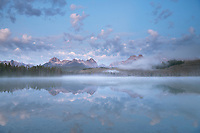 Fog over Little Redfish in pre-dawn light, Lake Sawtooth Mountains Idaho