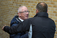 Gillingham FC chairman Paul Scally congratulates Gillingham FC manager Steve Lovell after winning  the EFL Sky Bet League 1 match between Gillingham and Bradford City at the MEMS Priestfield Stadium, Gillingham, England on 27 October 2018.