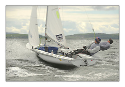 470 Class European Championships Largs - Day 3.Brighter conditions with more wind...GBR857, Ben SAXTON, Richard MASON, Royal Thames YC