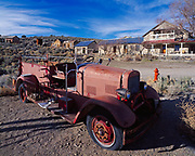 Antique fire engine parked in the silver mining ghost town of Belmont, Toquima Range, Nevada.