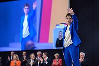 22 NOV 2019, LEIPZIG/GERMANY:<br /> Annegret Kramp-Karrenbauer, CDU Bundesvorsitzende und Bundesverteidigungsministerin, nimmt nach ihrer Rede den Applaus der Delegierten entgegen, CDU Bundesparteitag, CCL Leipzig<br /> IMAGE: 20191122-01-141<br /> KEYWORDS: Parteitag, party congress, Applaus, applaudieren, klatschen, Jubel