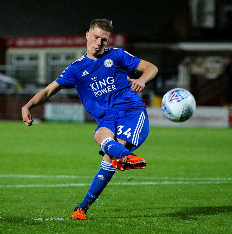 Leicester City U21s' Josh Knight misses a penalty<br /> <br /> Photographer Alex Dodd/CameraSport<br /> <br /> The EFL Checkatrade Trophy - Northern Group B - Fleetwood Town v Leicester City U21 - Tuesday September 11th 2018 - Highbury Stadium - Fleetwood<br />  <br /> World Copyright © 2018 CameraSport. All rights reserved. 43 Linden Ave. Countesthorpe. Leicester. England. LE8 5PG - Tel: +44 (0) 116 277 4147 - admin@camerasport.com - www.camerasport.com