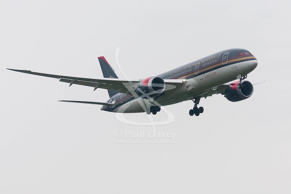 London Heathrow Airport, November 16th 2014. A royal Jordanian Boeing 787-800 Dreamliner moments before touchdown on London Heathrow's runway 09L.