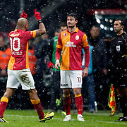Galatasaray's Albert Riera Ortega (C) during their Turkish superleague soccer derby match Galatasaray between Besiktas at the TT Arena at Seyrantepe in Istanbul Turkey on Sunday, 27 January 2013. Photo by Aykut AKICI/TURKPIX