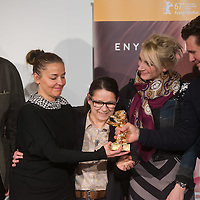 """Movie director Ildiko Enyedi (C) of Hungary and members of the cast attend the press conference of their new Golden Bear winning movie """"On Body and Soul"""" in Budapest, Hungary on February 21, 2017. ATTILA VOLGYI"""