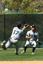 14 April 2013:  A fly to shallow center is missed by Joe Kennedy running from the infield and short of outfielder Eric Stevenson during an NCAA division 3 College Conference of Illinois and Wisconsin (CCIW) Baseball game between the Elmhurst Bluejays and the Illinois Wesleyan Titans in Jack Horenberger Stadium, Bloomington IL