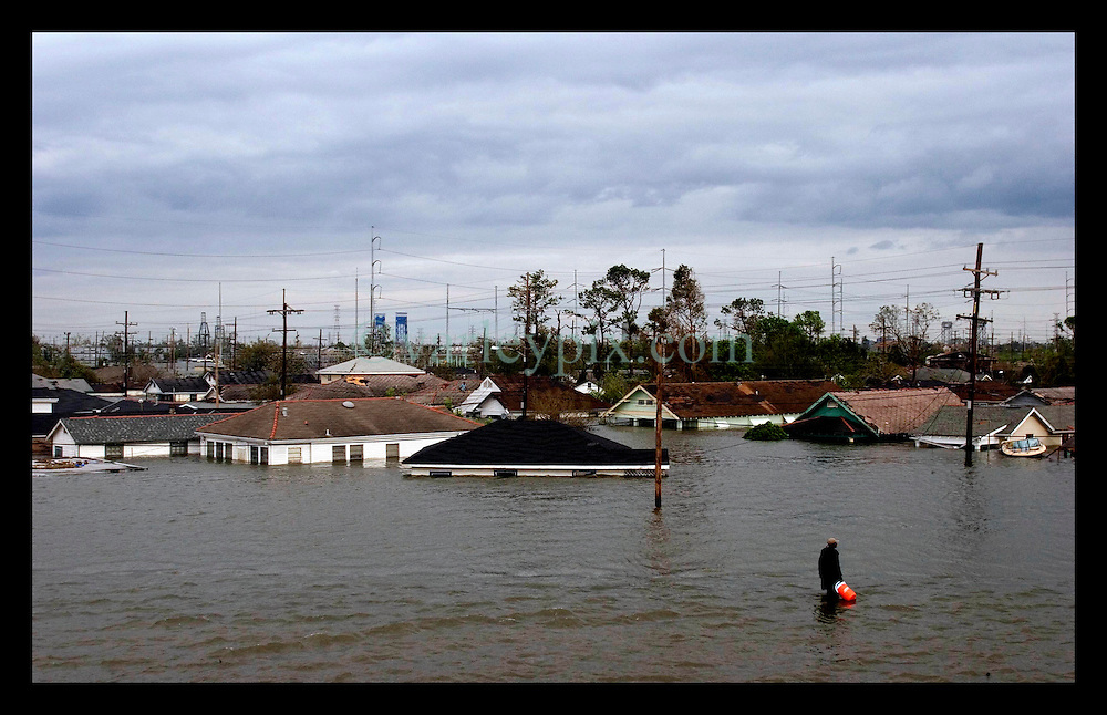 29th August, 2005. Hurricane Katrina hits New Orleans, Louisiana. The lower 9th ward disappears under water.