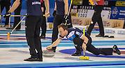 "Glasgow. SCOTLAND.  Scotland ""Ski["" Tom BREWSTER, during a ""Round Robin"" Game. Le Gruyère European Curling Championships. 2016 Venue, Braehead  Scotland<br /> Tuesday  22/11/2016<br /> <br /> [Mandatory Credit; Peter Spurrier/Intersport-images]"