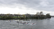 London, Great Britain.<br /> Men's Boat Race approaching the Hammersmith Bend.<br /> 2016 Varsity Boat Race. Championship Course Mortlake to Putney. River Thames. Sunday  27/03/2016<br /> <br /> [Mandatory Credit: Intersport images]